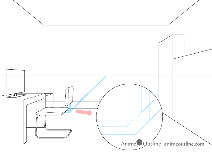 One point perspective drawing computer chair backrest attachment placement