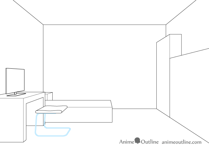 One point perspective drawing computer chair legs