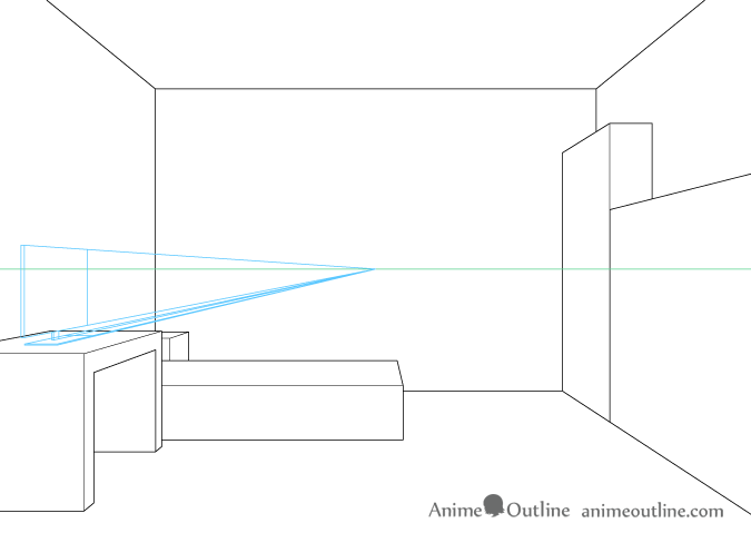 One point perspective drawing computer monitor