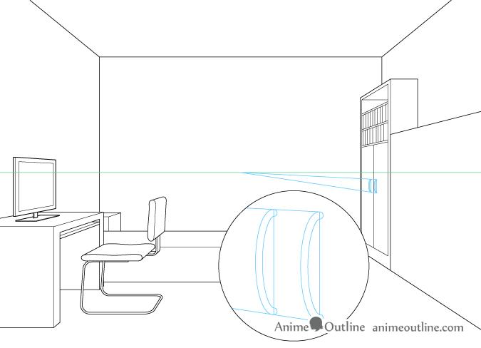 One point perspective drawing cupboard door handles