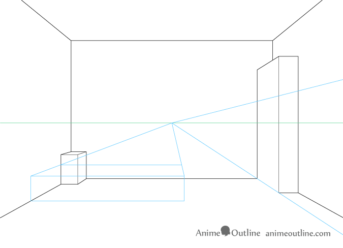 how to draw furniture in one point perspective