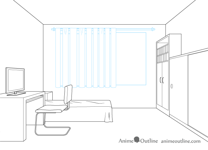 One point perspective drawing window curtains