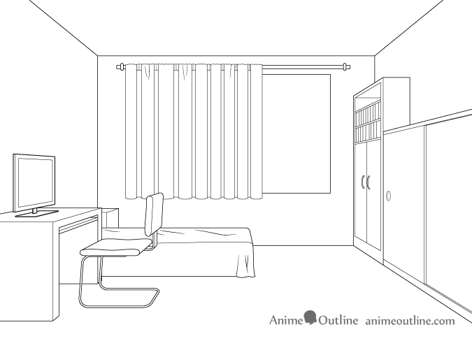 One point perspective room drawing tutorial animeoutline - One point perspective drawing living room ...