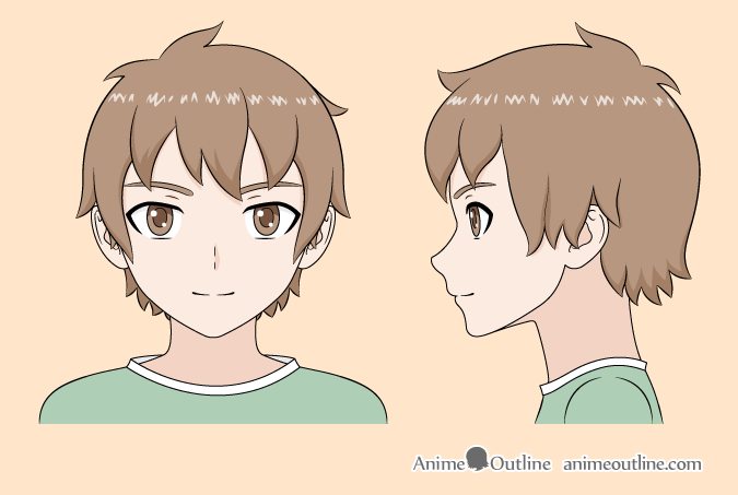 Anime boy color drawing