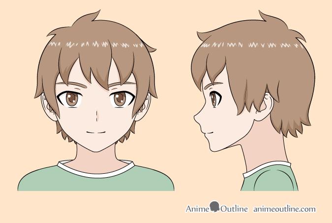 Anime boy color drawing