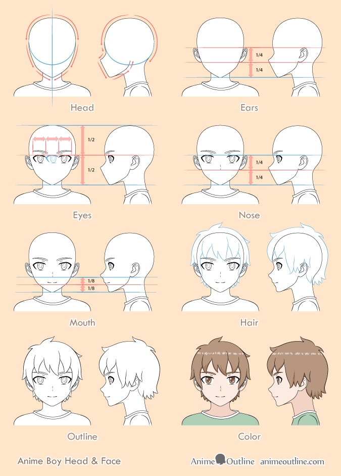 8 Step Anime Boy's Head & Face Drawing Tutorial | Anime ...