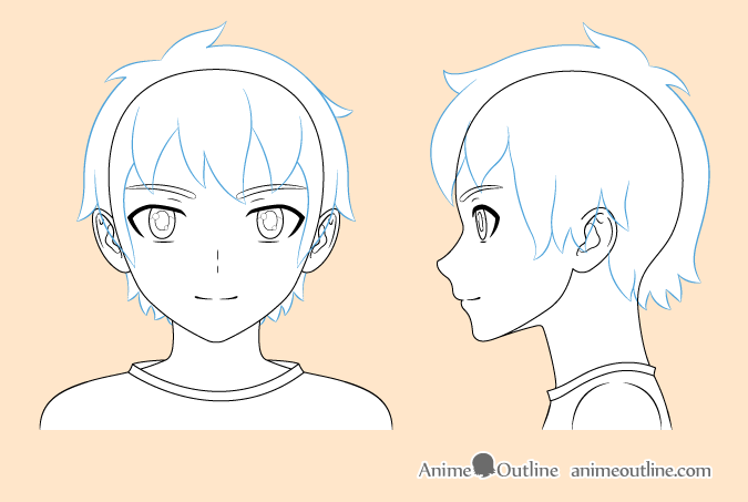 Anime boy hair drawing