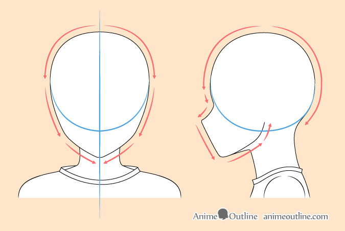 8 Step Anime Boy S Head Face Drawing Tutorial Animeoutline