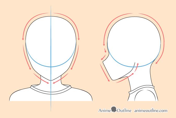 Anime boy head drawing