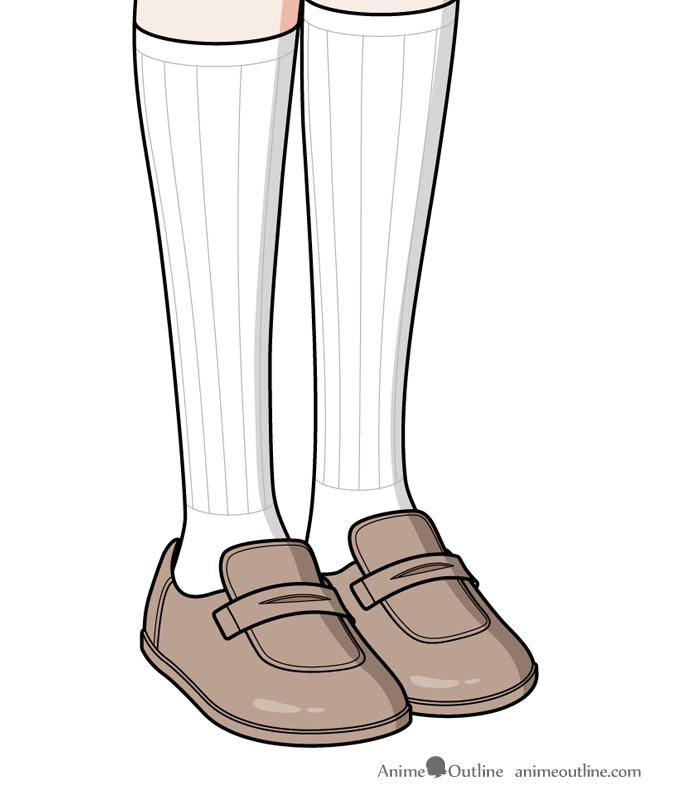Anime girl shoes and socks