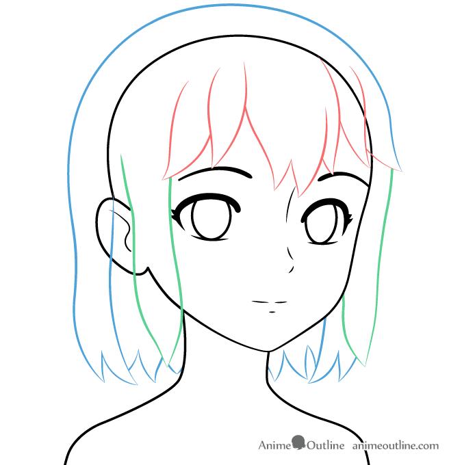 Drawing anime girl hair three quarter view
