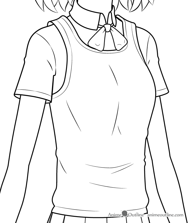 Anime girl school clothes folds