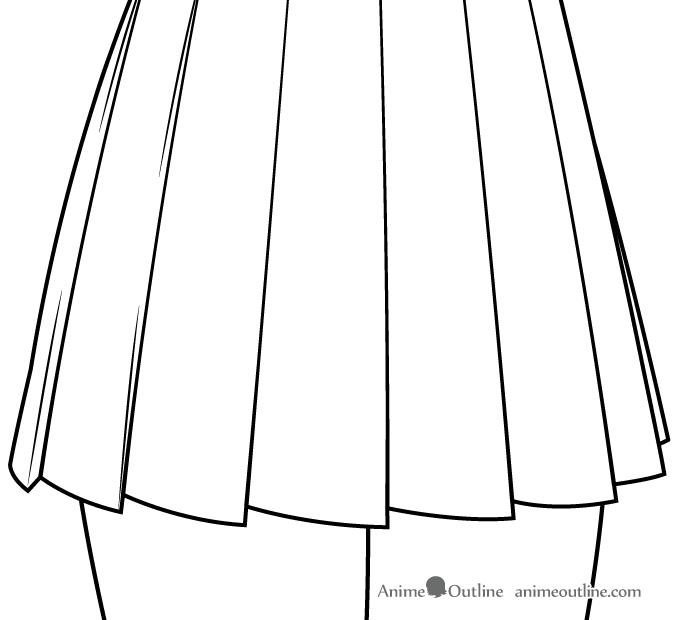 Anime girl school skirt folds