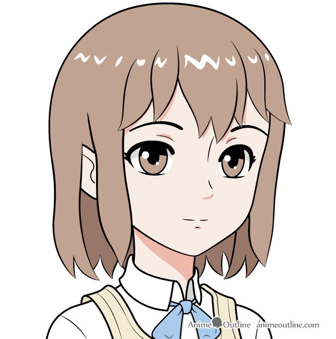 Anime school girl face