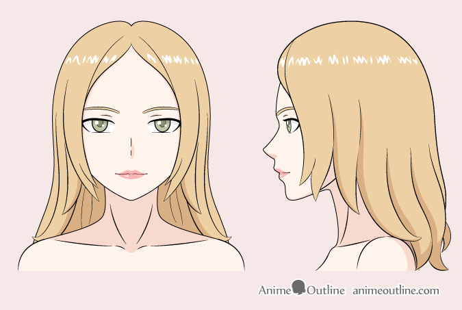 Anime woman color drawing