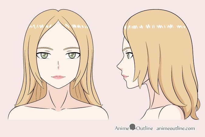 Anime woman color drawing