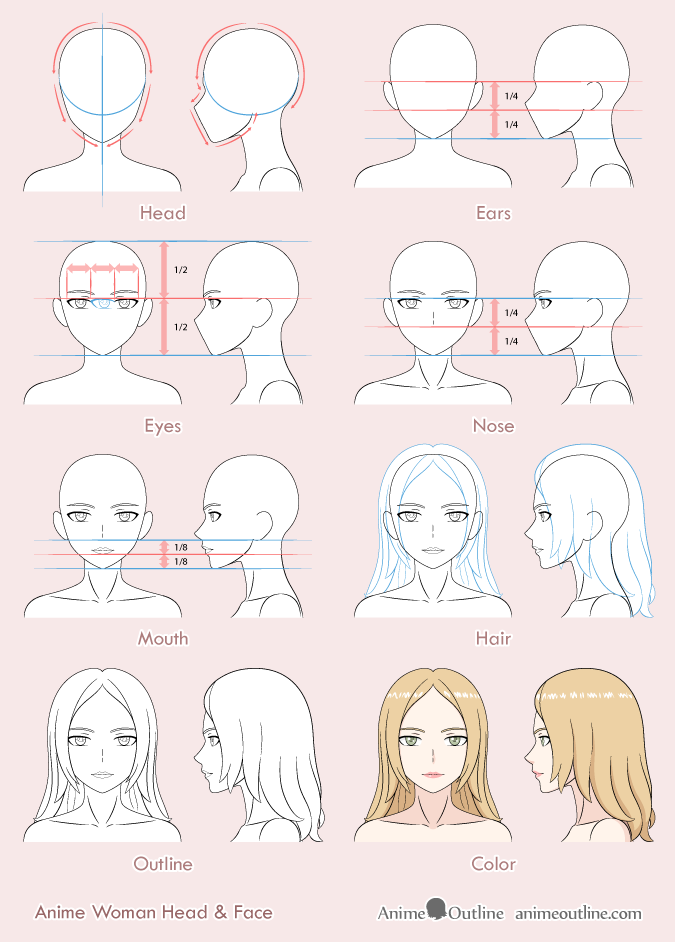 8 Step Anime Woman's Face Drawing Tutorial | Anime Outline