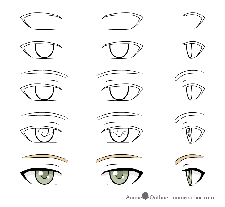 Anime woman eyes drawing step by step