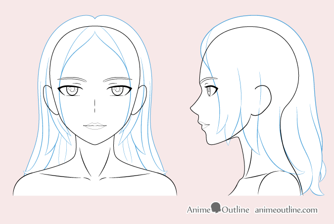 Anime woman hair drawing