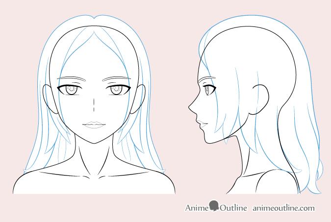 Anime woman hair drawing