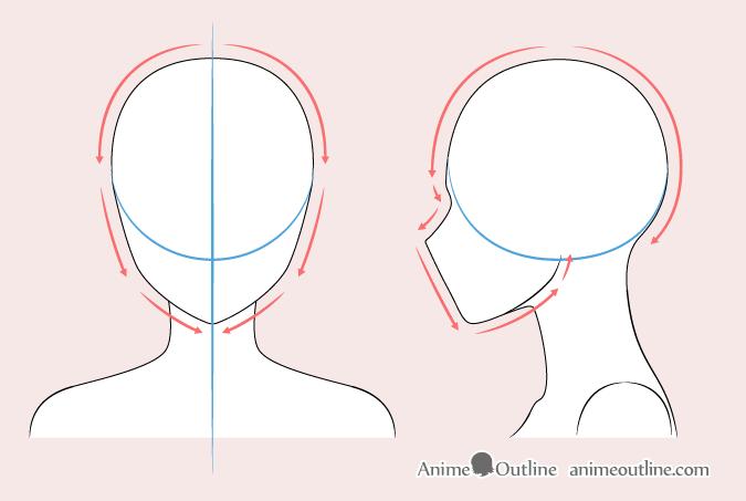 Anime woman head drawing