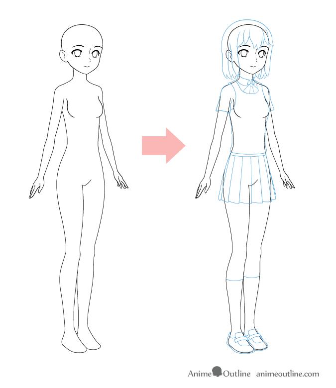 Drawing anime girl school uniform