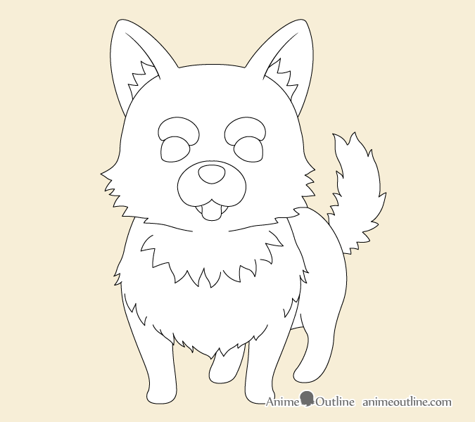Anime dog fur drawing