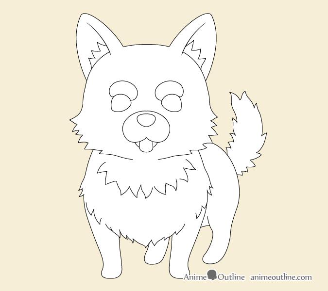 Anime dog fur drawing