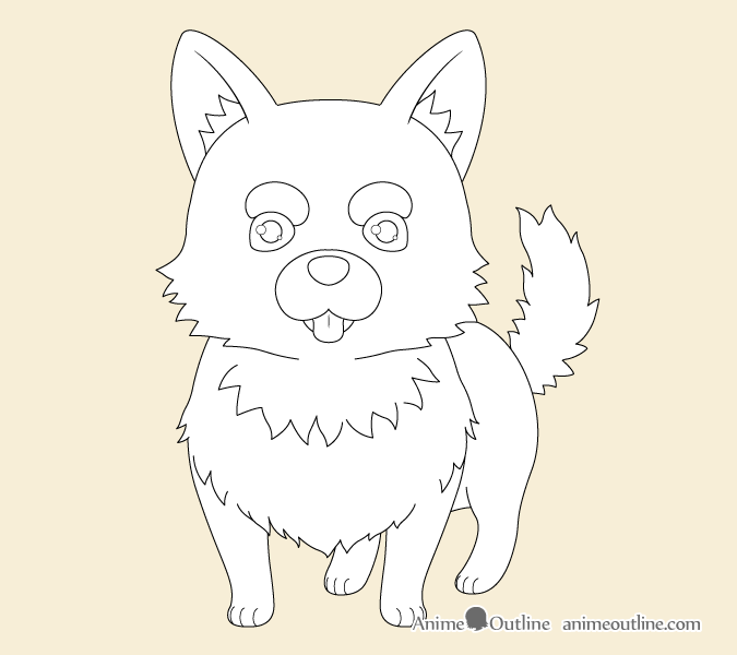 Anime dog outline drawing