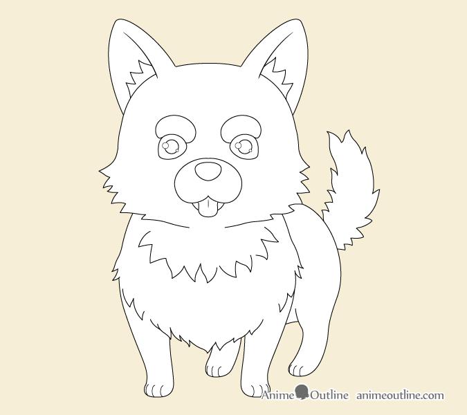 Anime dog outline drawing