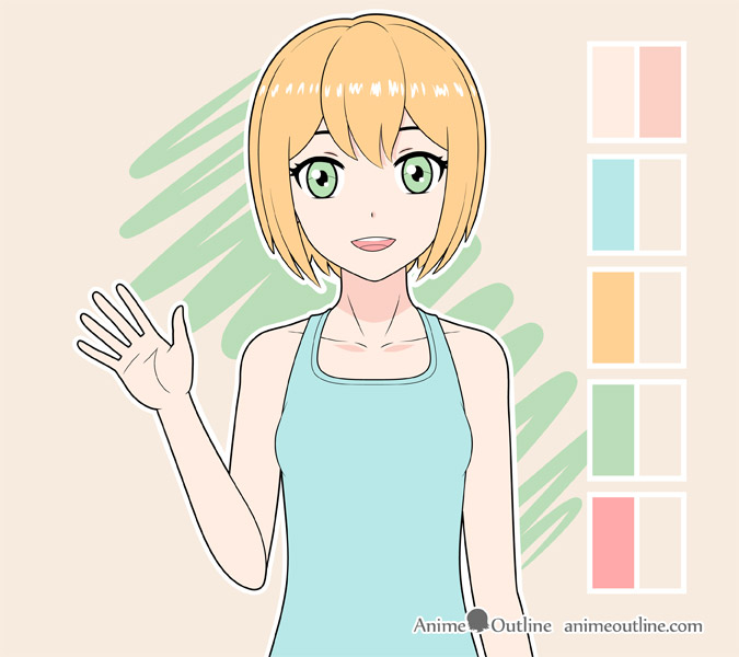 Shading anime girl body