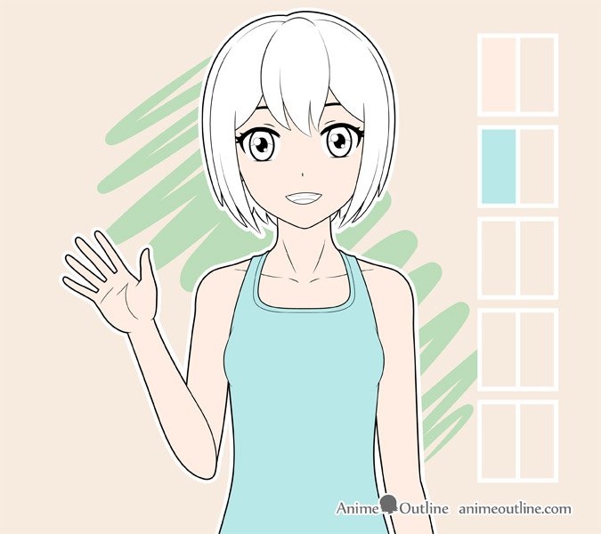 Coloring anime girl clothes