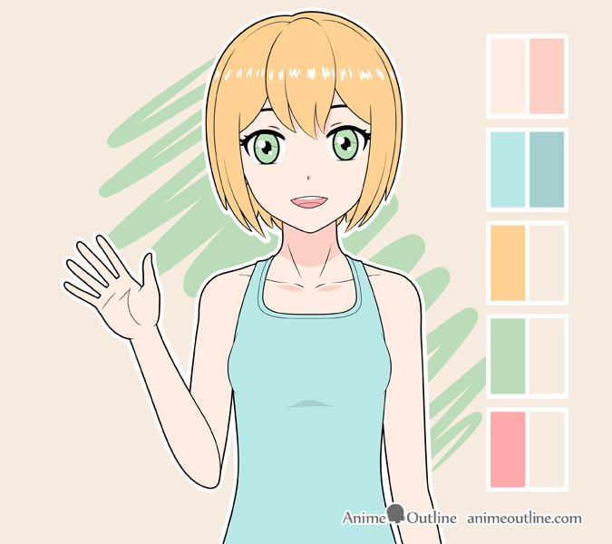Shading anime girl clothes
