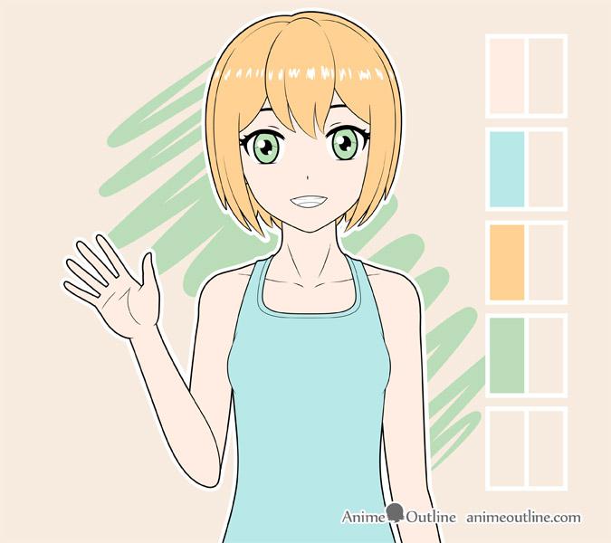 Coloring anime girl eyes