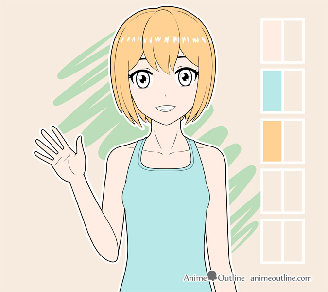 Coloring anime girl hair