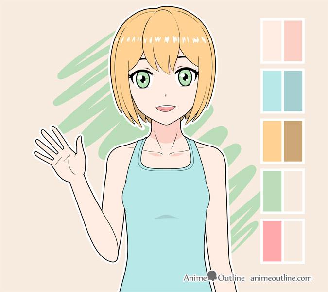 Shading anime girl hair