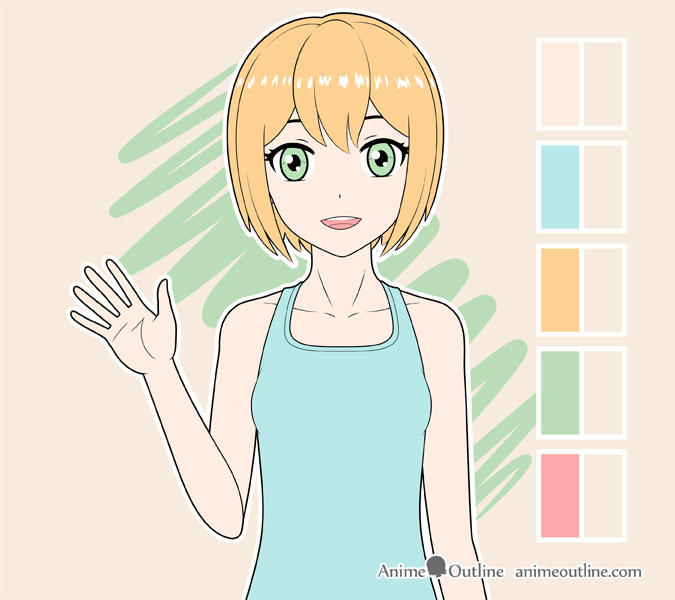 Coloring anime girl mouth