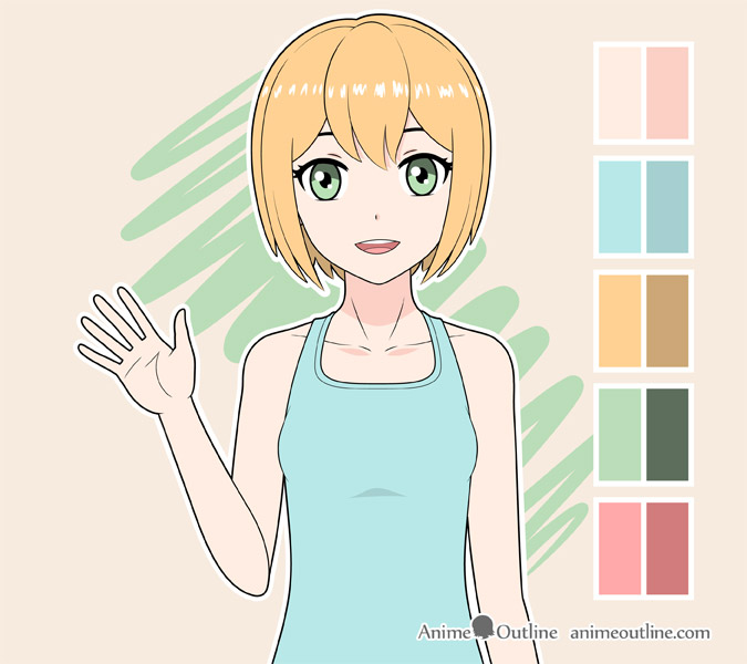Anime girl waving color drawing
