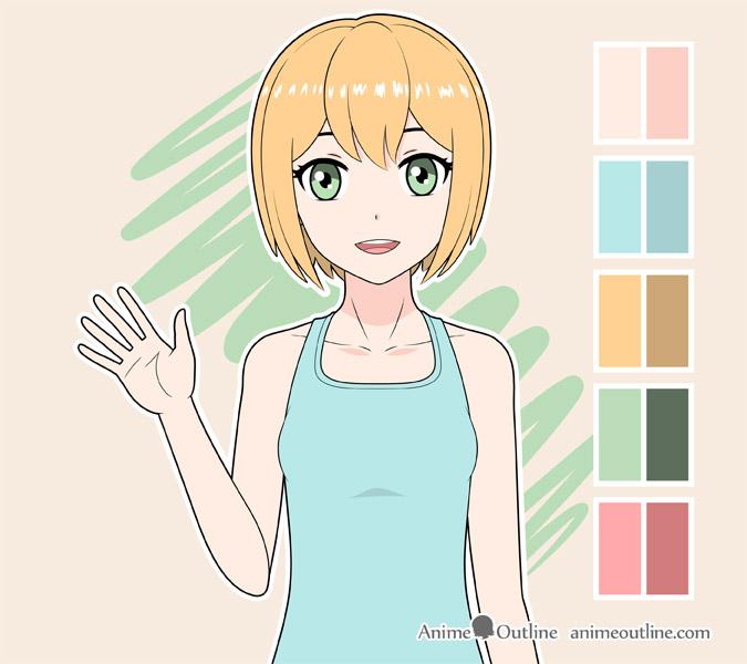 Anime girl waving color drawing