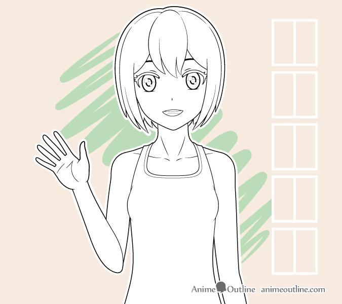 Anime girl waving outline drawing