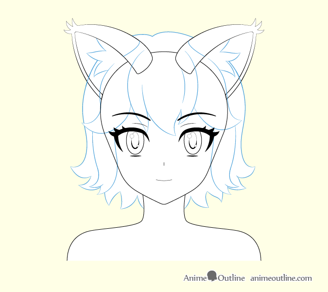 Anime cat girl hair drawing