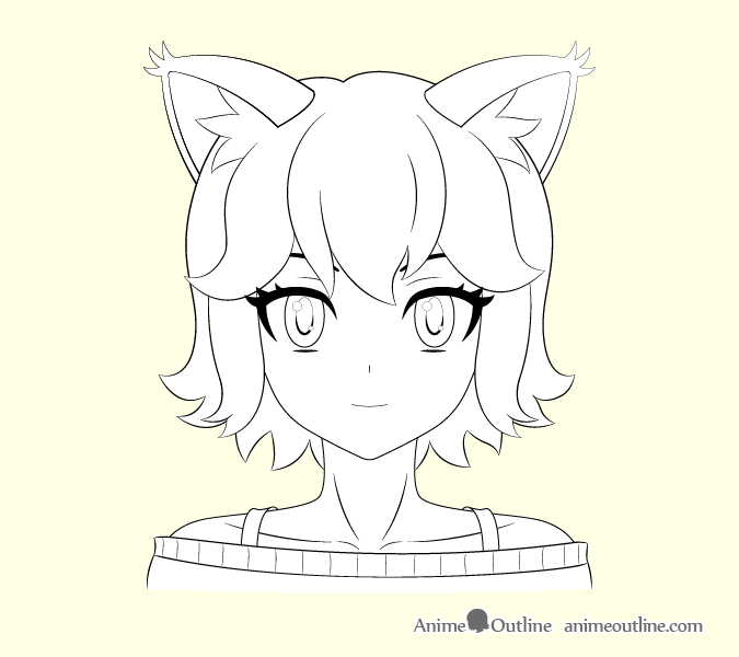Anime cat girl outline drawing