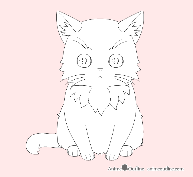 Anime cat small fur clumps drawing
