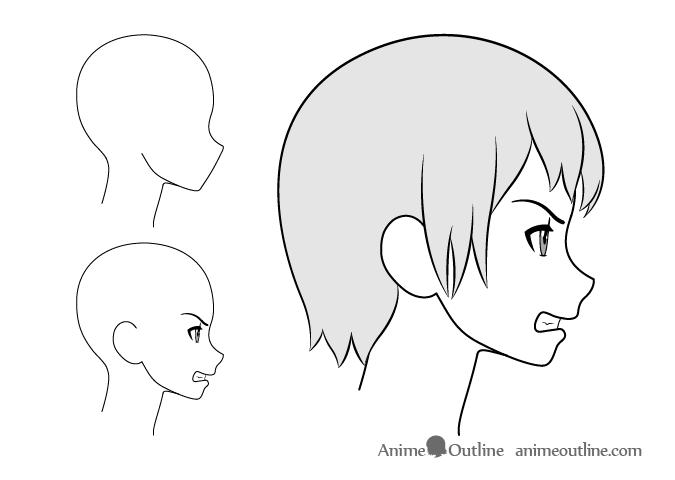 Anime girl angry side view drawing