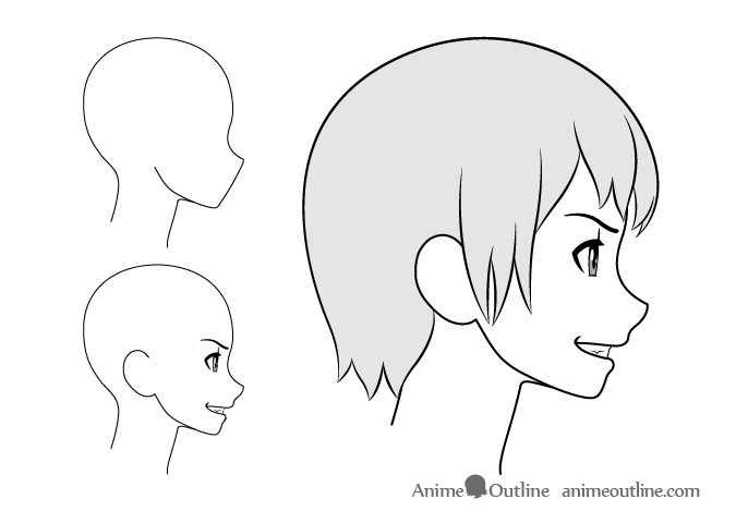 Anime girl grinning side view drawing