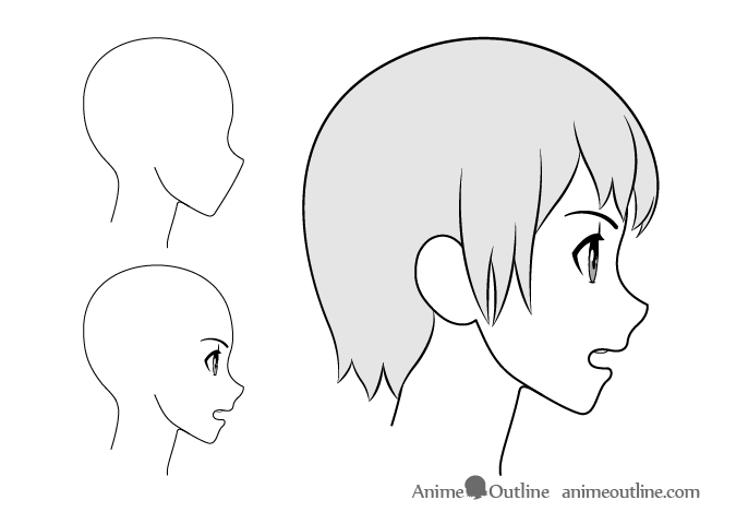 Anime girl lightly open mouth side view drawing