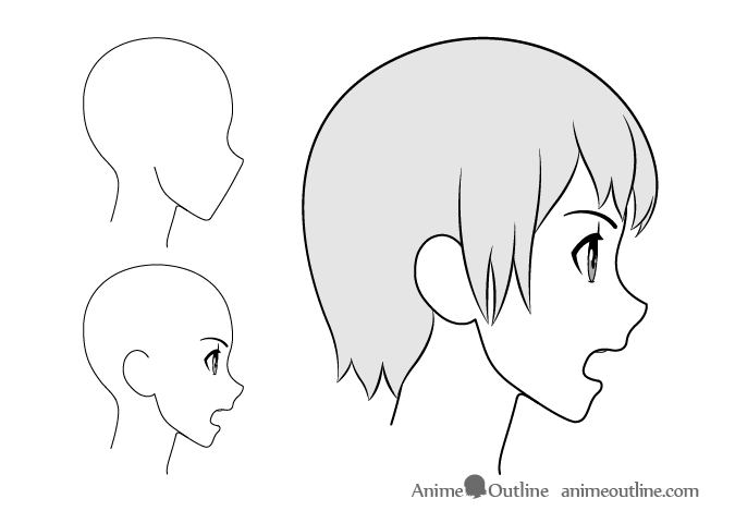 Anime girl open mouth side view drawing