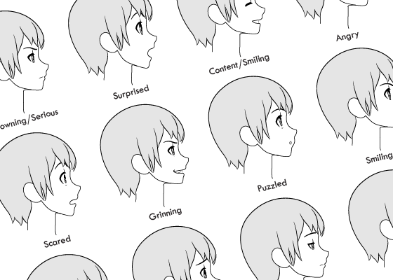 Anime girl side view expression