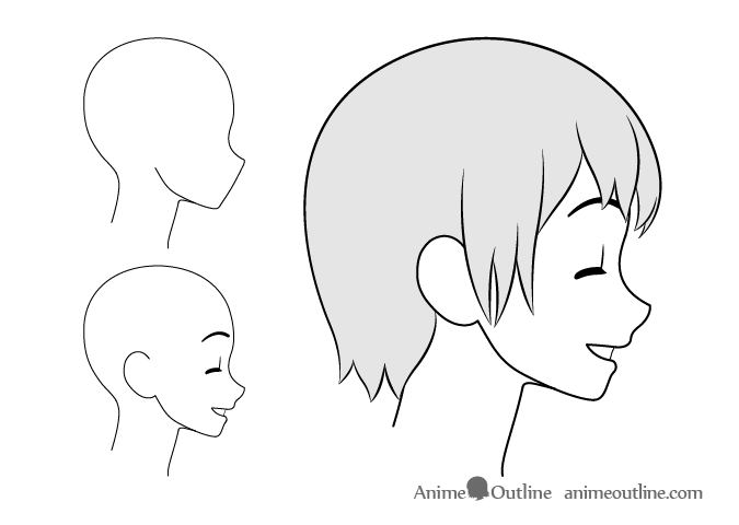 Anime girl content side view drawing