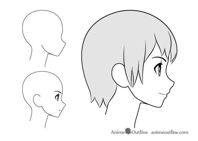 Anime girl smiling side view drawing